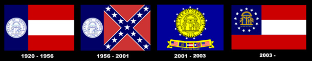 A diagram that shows the 1920, 1956, 2001, and 2003 Georgia flags