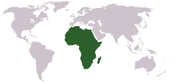 World map showing location of Africa