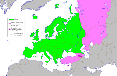 According to one common view of the boundary, the European continent is tbe area colored  on this map. Areas coloured  and  are  of other .