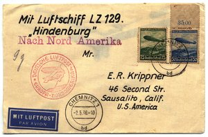 One of many covers flown on the  , featuring a variety of postal markings.